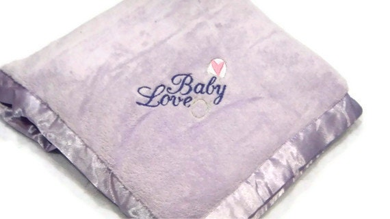 Embroidered BABY LOVE Light Purple Blanket Heart Pin