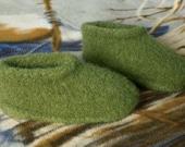 Toasty Warm Hand knit Wool Felt Women's Slippers in Dark Green