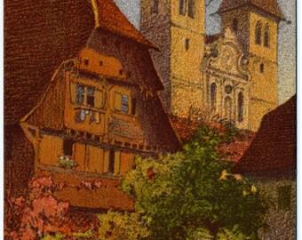 Vintage Unused Postcard Original Lithograph by Ernst E. Schlatter