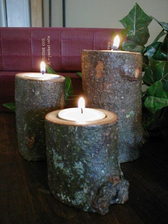 Reserved for Cheryl Gilbert - 3 LOG CANDLE HOLDERS -  Tea Light Holders - Southern Magnolia Branch Sections