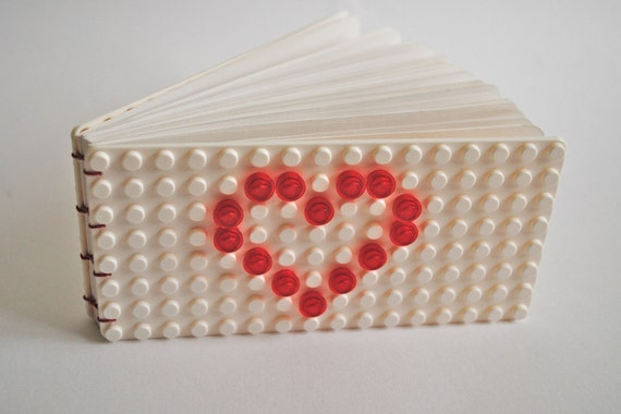 Mini Upcycled Coptic Bound Book with a Build Your Own Cover -White Covers with Heart