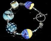 Handcrafted Lampwork Bracelet    - Blueberry Butter