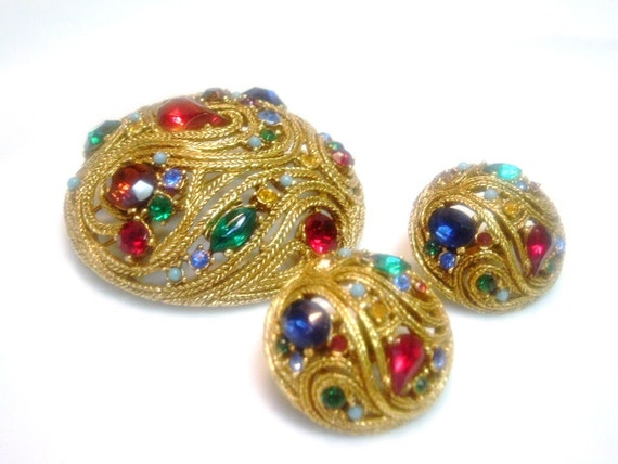 SALE--La Roco Attributed Brooch and Earring Set -- Book Piece