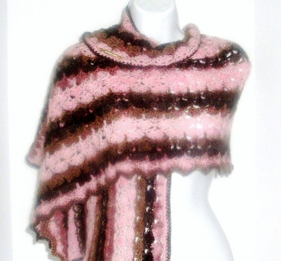 RESERVED for Candy-Crocheted Lacey Wrap with Vintage Bar Pin Embellishment - Womens