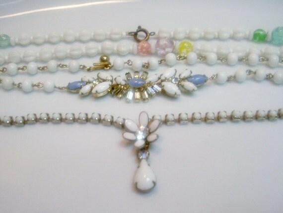 Vintage Destash Three Milkglass and Rhinestone Necklaces