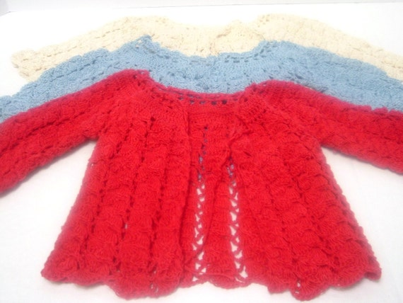 SALE--Crocheted Baby Layettes -- Red, Blue and Ecru -- three Sets