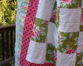 Twin Sized Quilt Featuring 'Nicey Jane' Fabric by Heather Bailey.  Professionally Quilted.