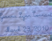 Add Embroidered Names and Wedding Date To Any Quilt, Your Choice of Script or Standard Font.