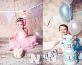 Sale, CUSTOM Reversible Bunting Photo Prop Girl and Boy Banner. Large, Double Sided Flags in 2 Fun, Boy and Girl Appropriate Color Themes.