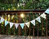 Just Married, Bunting Flag Banner, Wedding Decoration, Photo Prop.  Designer's Choice Fabric Pennants. Ships Quickly.