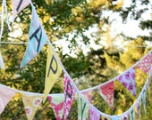 Happy Birthday Banner Bunting Party Flags.  A Shabby Chic Themed Party Decoration.  Reversible. Ready to SHIP.
