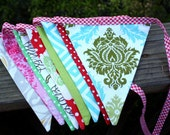 Bunting Decoration, Shabby Chic Christmas Holiday Banner, Photo Prop, Bunting. Very Chic. Custom Available.
