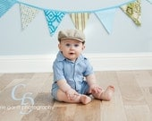 Boy Bunting Banner On Sale, Blue and Green Pennant Flags, 7 Large Flags, Designer's Choice.  Ready To Ship.  Photo Prop, Nursery Decoration