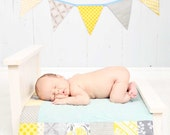 On Sale. Patchwork Edged Doll Quilt With Matching Banner. Sweet Newborn Photo Prop Set Up in Grey and Yellow.  Made To Order.
