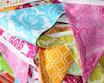 Colorful Pink, Blue & Yellow Party Flags, Photo Prop, Child's Room, Wedding Decoration. 9 Flags Garland Bunting, Featuring Designer Fabrics.