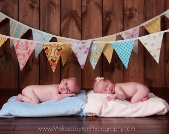 Set of 2 Flag Banners... One Boy and One Girl Bunting, Designer's Choice. Photo Props.  2 Banners at a Discounted Price.