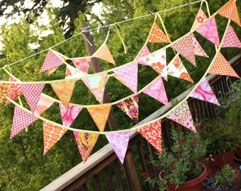 ONE Bunting Banner in Bright Orange and Pink. Pennant Flag Garland, Designer's Choice, Bridal Shower, Wedding Decoration, 9 Large Flags.