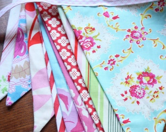 Photography Prop,  9 Foot Long Fabric Flag Bunting, Featuring Pinks, Reds and Blues.  Also For Weddings and Parties. Made To Order.
