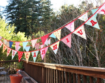 Personalized Custom Bunting Flag Decoration. 14 Flags, up to 13 letters, with an option for more.