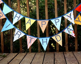 Happy Birthday Flags, Bunting Banner.  A Unique Party Decoration.  You Receive Two Flag Buntings, Two Sided, More Value. Designer's Choice.