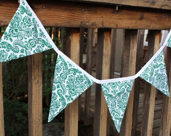 St. Patrick's Day Fabric Banner, Damask Bunting.  Ready To Ship.  Photo Prop, Nursery Decoration, Party Banner.