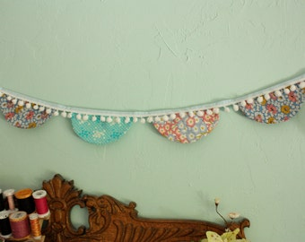 Fabric Scallop Bunting Flag Garland with Pompoms, Shabby Chic Vintage Reproduction Fabric.  Photo Prop, Party Decoration. Ready To Ship.