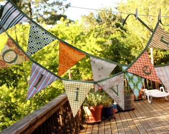 Custom Personalized Banner. Fabric Bunting, 5 Flags, Includes 5 Letters...