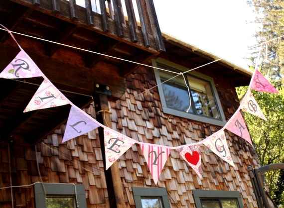 Personalized Custom Bunting Flag Decoration. Up to 12 flags, 11 letters. For Birthdays, Bedrooms, Weddings, Parties...
