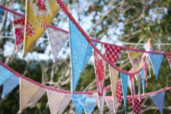 On SALE Carnival Theme Fabric Bunting By The Yard. Wedding Decor, Photo Prop, Party Decoration, Pennant Flags. You Choose the Length.