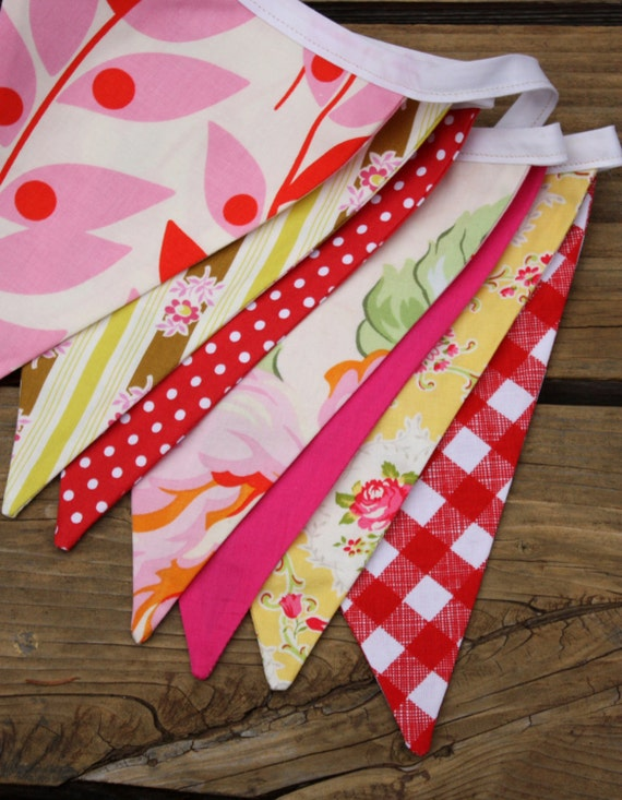 Flag Bunting Wedding Decoration or Photo Prop, Ready To Ship Photo Prop. Fabric Banner.