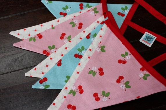 Fabric Flag Bunting Banner, Pennant Flags, Garland Cherries Pink n Aqua Shabby Chic Photo Prop Decoration Featuring 7 Large Flags.