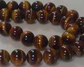 tiger eye brown smooth round bead 10mm 10 pieces