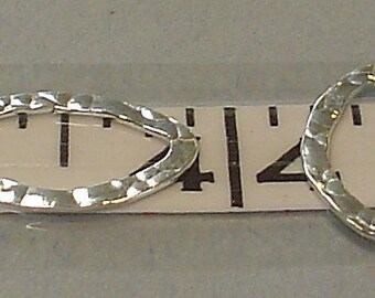 925 sterling silver hammered oval link 13x20 mm/TWO piece