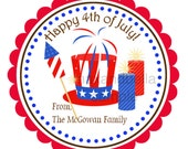 Personalized Fourth of July Stickers, Address Labels, Gift Tags, Party Favors, Seals  - Set of 12