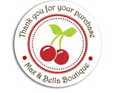 Red Cherry Personalized Stickers  - Set of 24