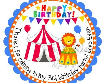 Circus Party Personalized Stickers, Party Favors, Balloons, Lion, Label, Birthday, Hang Tags, Gift Tags, Goody Bag - Set of 12