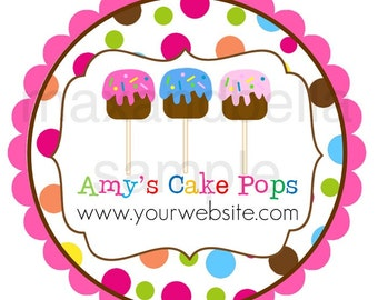 Whimsical Polka Dot Cake Pop Personalized Stickers, Birthday, Business, Baking, Address Labels, Gift Tags, Party Favors, Seals  - Set of 12