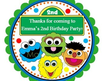 Sesame Street Friends Personalized Stickers, Birthday, Address Labels, Gift Tags, Hang Tags, Party Favors, Seals  - Set of 12