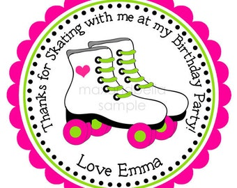 Roller Skates Personalized Stickers, Gift Tags, Party Favors, Labels, Hang Tags, Birthday Stickers  - Set of 12