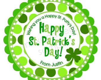 St. Patrick's Day Stickers, Personalized stickers, Irish, Address Labels, Holiday, Gift Tags, Party Favors, Children, Initial - Set of 12