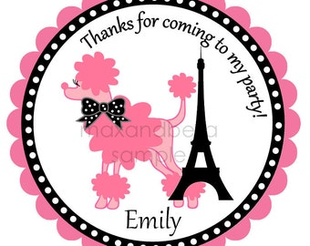 Personalized Pink Poodle Stickers, Labels, Address Labels, Birthday Stickers, Paris, Polka Dots