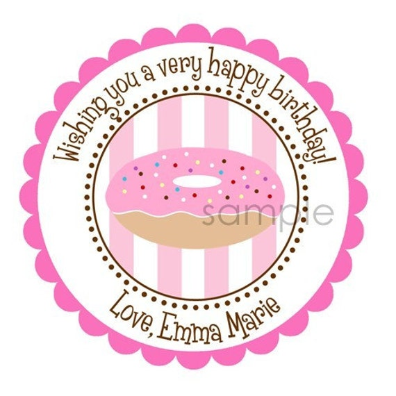 Personalized Sprinkled Donut Stickers,  Address Labels, Birthday, Gift Tags, Party Favors, Children, Seals, Chocolate  - Set of 12