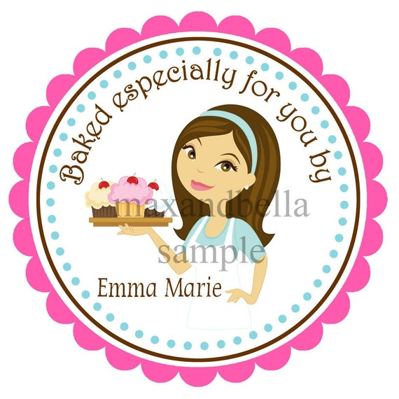 Personalized Cupcakes on a Tray Baking Stickers, Baking, Cupcakes, Sprinkles, Children, Hostess, Gift Tags, Party Favors - Set of 12