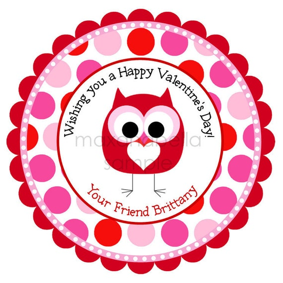 Pink Polka Dot Owl Personalized Stickers, Valentines Day, Gift Tags, Hearts, Labels, Seals, Hang Tags  - Set of 12