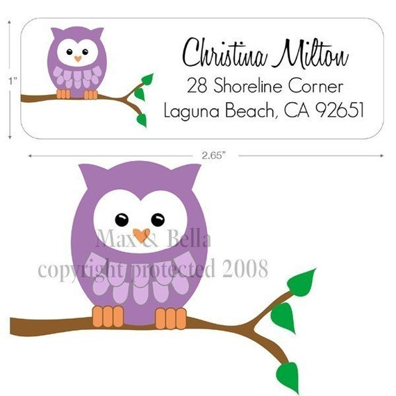 Items similar to Purple Owl on a Branch Personalized ...