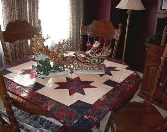 Christmas Star Quilted Table Covering and treeskirt pattern