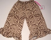 Sale...Sweet Cocoa Ruffle Pants by Dolce Baci for baby and toddler girls -Ready to ship in size 12m and 5T