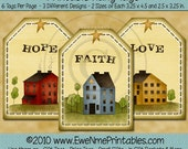 INSTANT DOWNLOAD - Printable Hang Tags - Faith Hope Love - U-Print PDF File