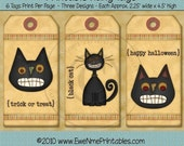 INSTANT DOWNLOAD - Digital Hang Tags - Plaid Cats - Printable PDF File