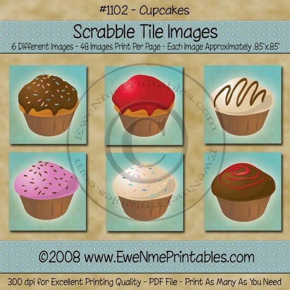Printable Scrabble Tile Images - Cupcakes - .85 x.85 square - U-Print PDF File